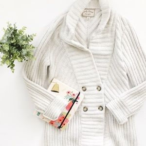 Lucky Brand Ribbed Button Sweater Coat